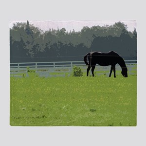 Horse In Field Painting Throw Blanket