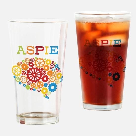 Aspie Brain Autism Drinking Glass