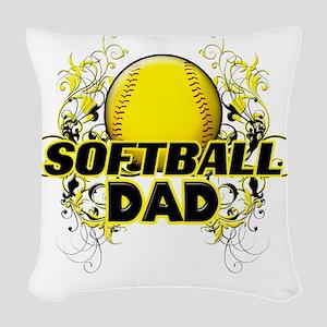 Softball Dads (cross) Woven Throw Pillow
