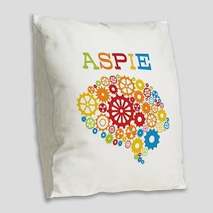 Aspie Brain Autism Burlap Throw Pillow