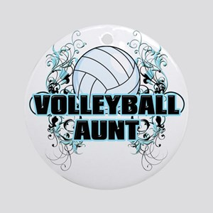 Volleyball Aunt (cross) Round Ornament