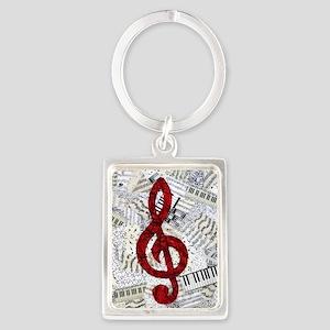 Red Treble Clef Portrait Keychain