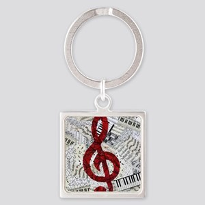 Red Treble Clef Square Keychain