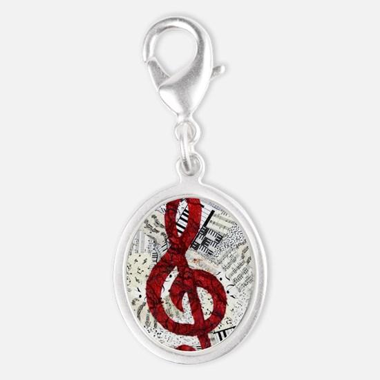 Red Treble Clef Silver Oval Charm
