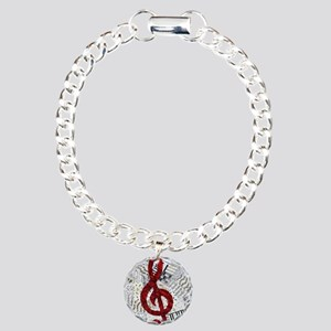 Red Treble Clef Charm Bracelet, One Charm