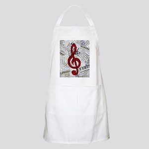 Red Treble Clef Apron