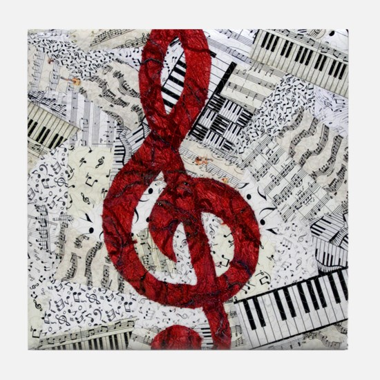 Red Treble Clef Tile Coaster