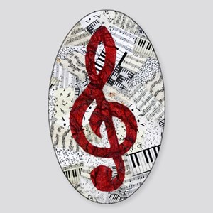 Red Treble Clef Sticker (Oval)