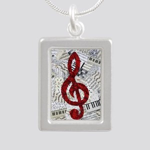 Red Treble Clef Silver Portrait Necklace