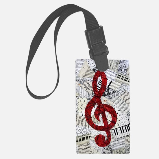 Red Treble Clef Luggage Tag