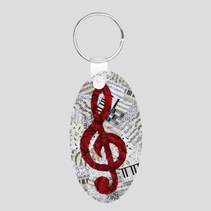 Red Treble Clef Aluminum Oval Keychain