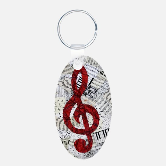 Red Treble Clef Keychains
