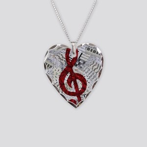 Red Treble Clef Necklace Heart Charm
