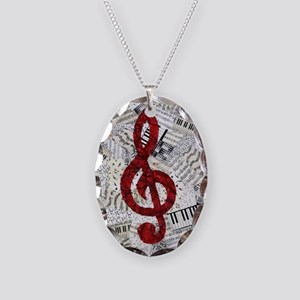 Red Treble Clef Necklace Oval Charm