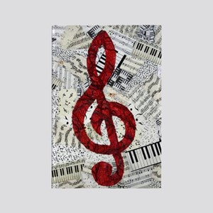 Red Treble Clef Rectangle Magnet