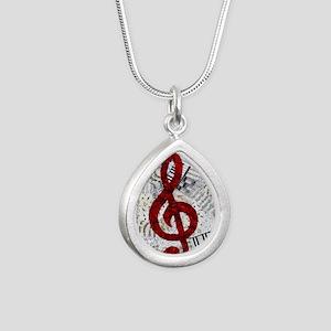 Red Treble Clef Silver Teardrop Necklace