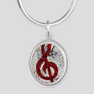 Red Treble Clef Silver Oval Necklace