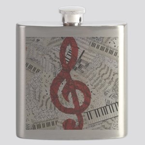 Red Treble Clef Flask