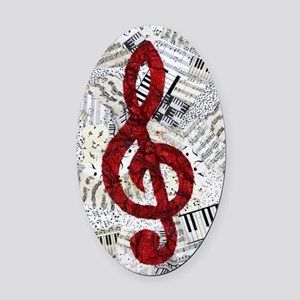 Red Treble Clef Oval Car Magnet