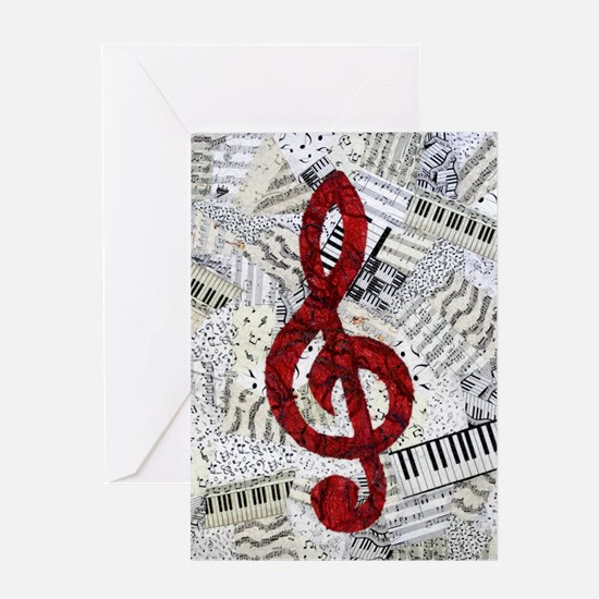Red Treble Clef Greeting Card