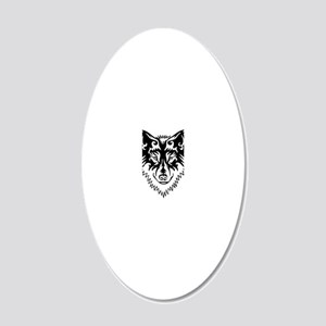 Tribal Wolf 2 20x12 Oval Wall Decal