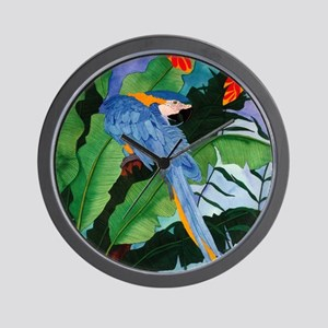 Blue and Gold Macaw Preening Wall Clock