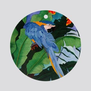 Blue and Gold Macaw Preening Round Ornament