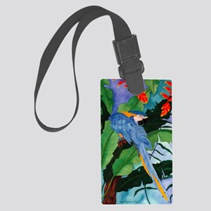 Blue and Gold Macaw Preening Large Luggage Tag