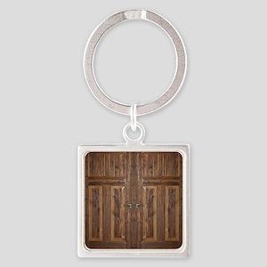 Wooden Door Square Keychain