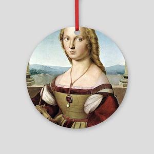 Lady with unicorn - Raphael Round Ornament
