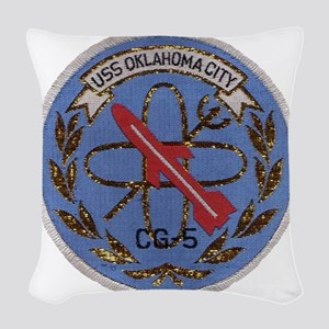 uss oklahoma city cg patch tra Woven Throw Pillow