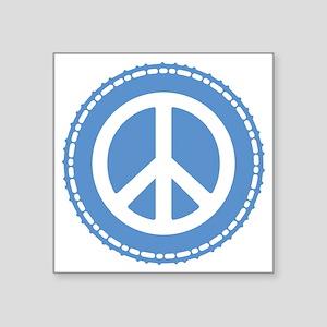 "Classic Blue Peace Sign Square Sticker 3"" x 3"""