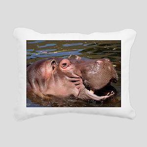 Happy Hippo Rectangular Canvas Pillow