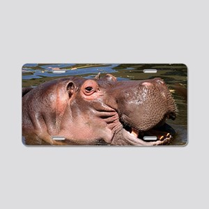 Happy Hippo Aluminum License Plate