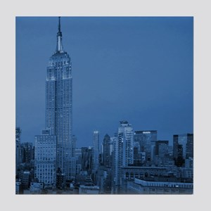NYC, Empire State, Blue Tile Coaster