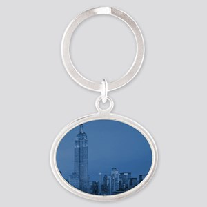 NYC, Empire State, Blue Oval Keychain