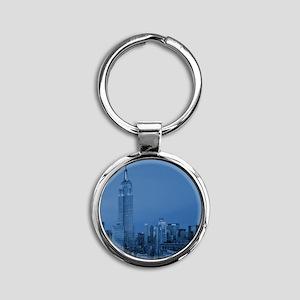 NYC, Empire State, Blue Round Keychain