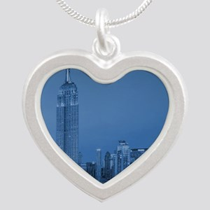 NYC, Empire State, Blue Silver Heart Necklace