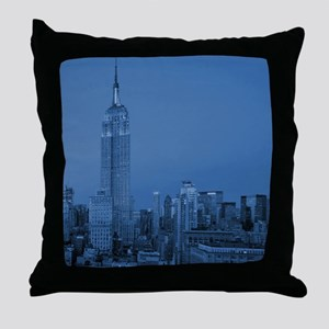 NYC, Empire State, Blue Throw Pillow