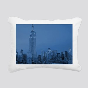 NYC, Empire State, Blue Rectangular Canvas Pillow