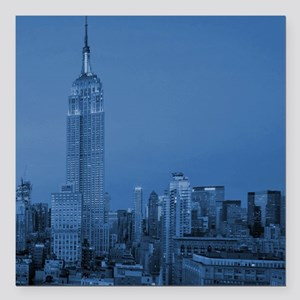 """NYC, Empire State, Blue Square Car Magnet 3"""" x 3"""""""
