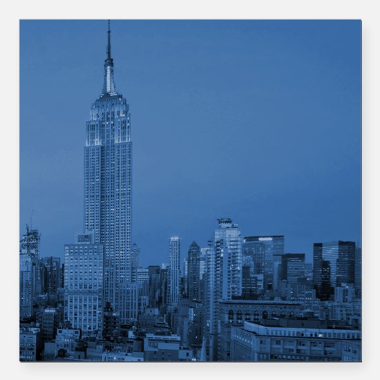 "NYC, Empire State, Blue Square Car Magnet 3"" x 3"""
