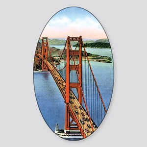 Vintage Golden Gate Bridge Sticker (Oval)