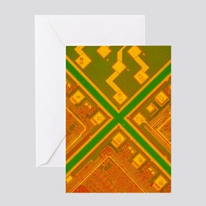 LM of 3 memory silicon chips Greeting Card