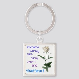 White Rose, charm and street smart Square Keychain