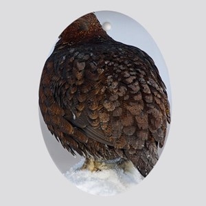 Male red grouse calling Oval Ornament