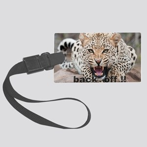 angry cheetah Large Luggage Tag