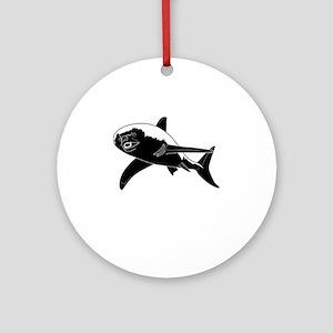 Honey Badger Shark Round Ornament