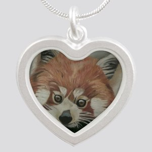 Red Panda - Painting Done in Silver Heart Necklace