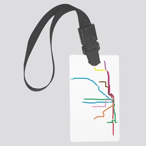 Painted Chicago El Map Large Luggage Tag